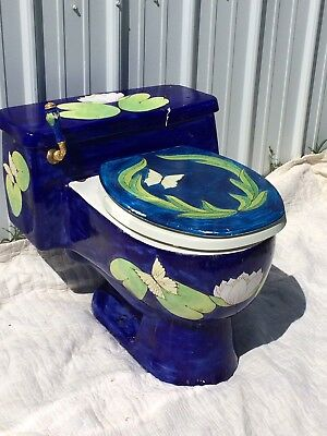 "Vintage Sherle Wagner Hand Painted ""Lilly"" Porcelain Toilet With Cracked Lid"