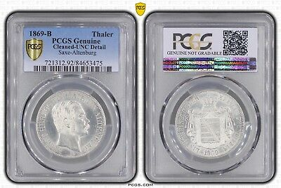 Thaler 1869 B Saxe-Altenburg German States Pcgs Unc Detail