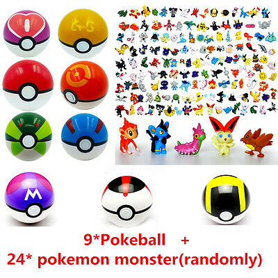 24Pcs Pokemon Go Action Figures + 9Pc 7CM Poke ball Great GS Pop-up Kid Toy Gift