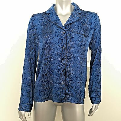 NWT PJ LUXE By PJ Salvage Python Print Long Sleeve Silky Sleepshirt Top Blue M