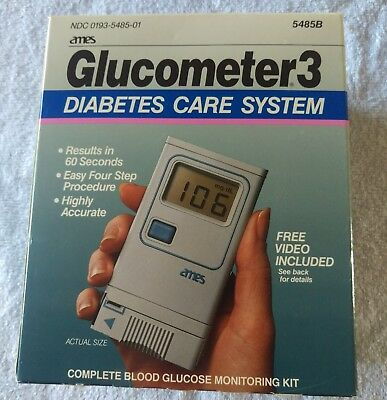 Vintage Ames Glucometer3 Diabetes Care System In Box NDC0193-5485-01