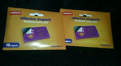 Staples Adhesive Magnets Business Card Size ~ Free Shipping!