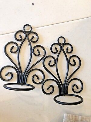 Set Of 2 Small Metal Black Scroll Victorian Gothic Votive Holder Wall Sconces