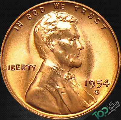 1954-S  1¢ LINCOLN WHEAT CENT ~ MS GEM BU Red ~ #2821BAG