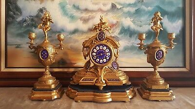 ANTIQUE P.H.MOUREY FRENCH CLOCK with GARNITURE. Original Gilding