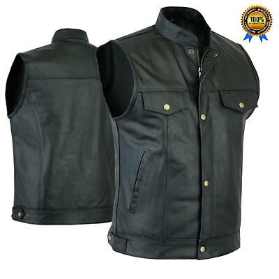 Men's New Leather Waistcoat Cut Off Style Sons Anarchy Gun Pockets Comfortable