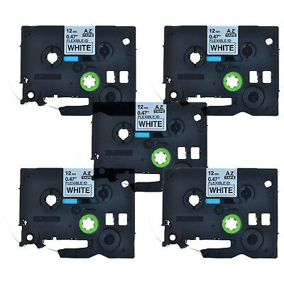 5PK Black on White Flexible Label Tape For Brother P-Touch TZ TZe-Fx231 12mm*8m