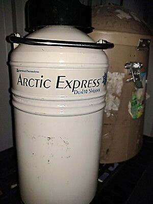 ArcticExpress Dual10 Nitrogen Dry Shipper Dewar with Rugged Shipping Mushroom