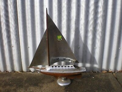 1940's/50's Art Deco Chrome & Wood Large Yacht On Stand