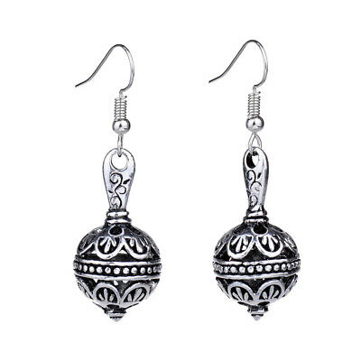 Cute Retro Antique Silver Hollow Out 3D Ball Vintage Drop Earrings For Women