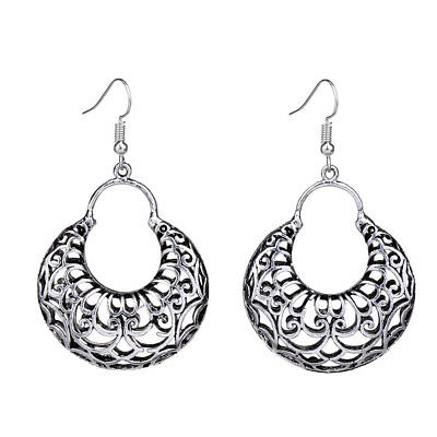 Bohe Antique Silver Hollow Out Filigree Round Drop Vintage Earrings For Women