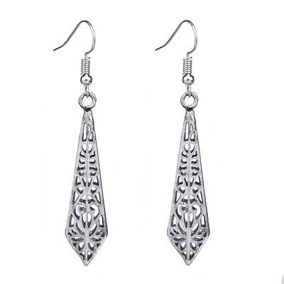 Ethnic Antique Silver Hollow Filigree Spike Vintage Drop Earrings For Women New