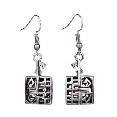 Retro Vintage Antique Silver Hollow Geometric Rectangle Drop Earrings For Women