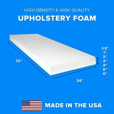 "High Density Upholstery Foam Seat Couch Cushion Replacement - 24"" x 72"""