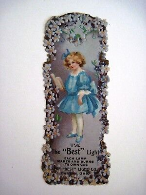 """Vintage Advertising Bookmark """"The Best Light Co."""" Each Lamp Makes Its Own Gas*"""