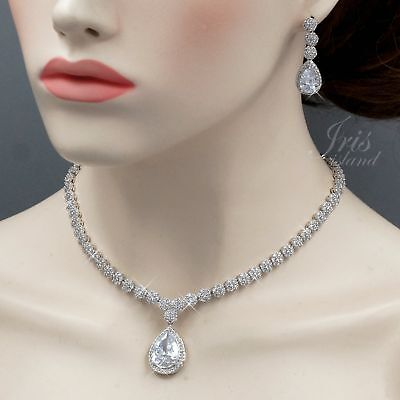 White Gold Plated Clear Cubic Zirconia Necklace Earrings Wedding Jewelry Set 457