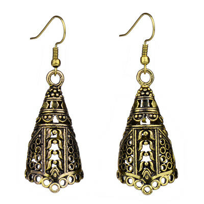 Vintage Antique Gold Tribal Ethnic 3D Hollow Out Drop Earrings For Women Unique