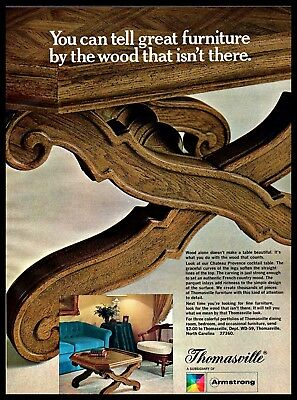 1969 Thomasville Furniture Wooden Cocktail Table Home Decor Vintage PRINT AD