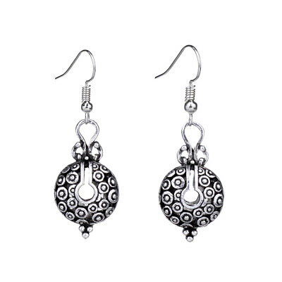 Antique Silver Carved Hollow Ladybug Round Drop Vintage Earrings For Women
