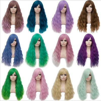 Long Curly Hair Slanted Bangs Gradient Can Not Be Dyed Daily Wig 70cm Clearance