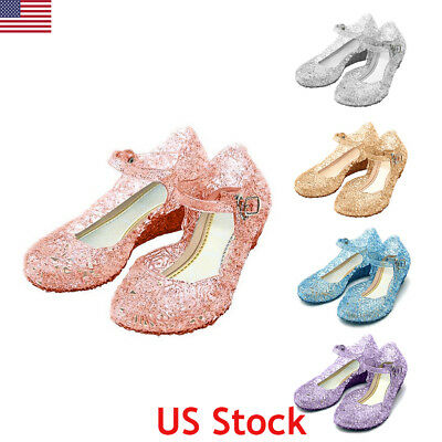 US Kids Girl Crystal Jelly Sandals Princess Frozen Elsa Cosplay Party Shoes Size