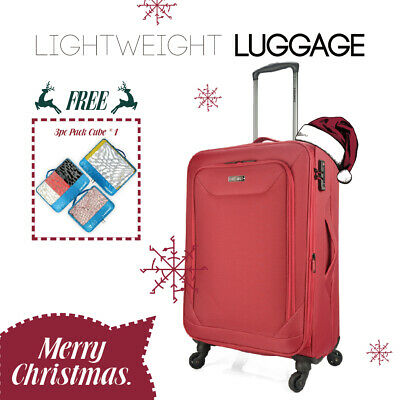 "Eaglemate 20"" Luggage Suitcase Trolley Set Travel Carry On Bag Soft Lightweight"