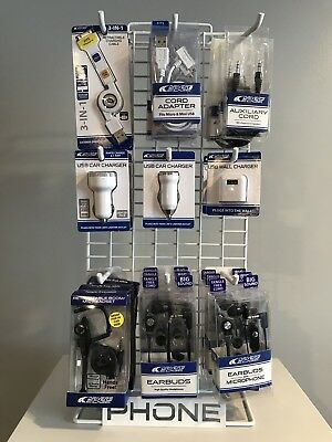 iphone Samsung Android Accessories on a retail display Headphones & USB Cables