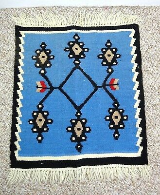 """Small Woven Wall Hanging Tapestry Textile Art Pattered Fringe Blue 20"""" x 15"""""""