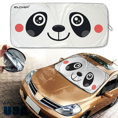 Cartoon Car SUV Windshield Sunshade Panda Jumbo Foldable Sun Visors Block  Cover d55a36bee1d