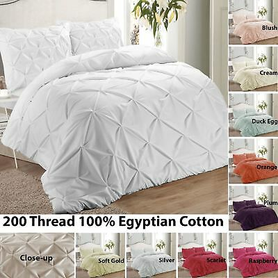 Soft 200 Thread 100% Egyptian Cotton Pintuck Pinch Pleat Duvet Cover Bedding Set