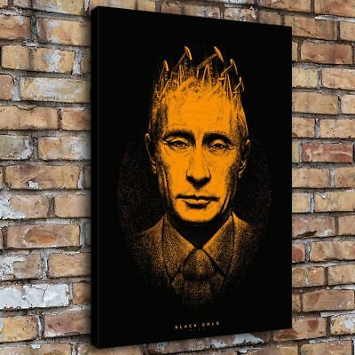 "12""x16""Russian Putin Gold Home Decor HD Canva Print Picture Wall Art Painting"