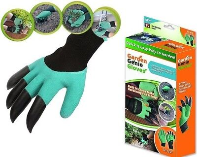 2X Garden Genie Gloves for Digging & Planting with 4 ABS Plastic Claws