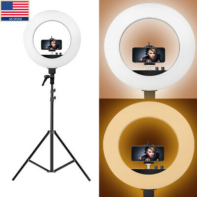 """US 18"""" Outer/12"""" Inner 48W 480pcs Studio LED Camera Video Ring Light with Stand"""