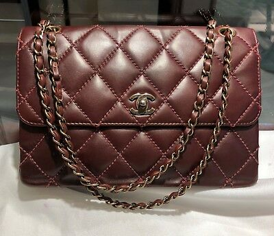 b8a94d88e59a Chanel Classic Flap Red Burgundy Brown Quilted Lambskin Bronze Hardware  Handbag