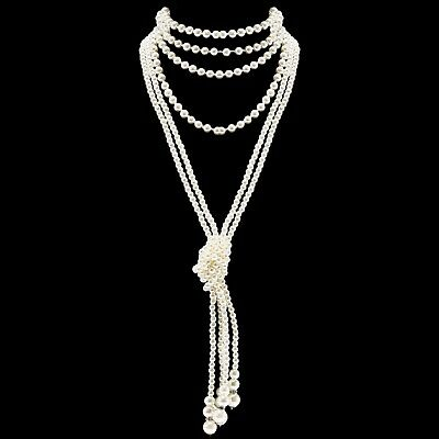 3f671859b ART DECO Fashion Faux Pearls Flapper Beads Cluster Long Pearl Necklace 55  Diamet