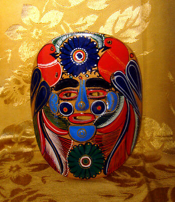 Talavera Pottery Mexico Mask Folk Art Hand Painted Wall Hanging