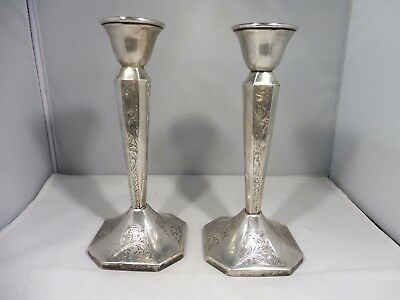 Pair Of Chased Sterling Silver Candlesticks Weighted