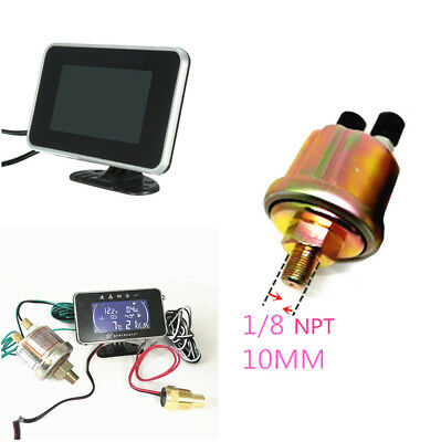 Digital LCD Car Motorcycle Water Temperature/Oil Pressure/Fuel/Voltage Gauge Set