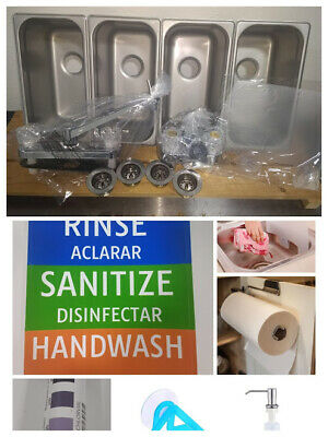 Drop In Standard Concession Stand 3 4 Compartment Sink, FREE GIFTS! 1 Hand Wash