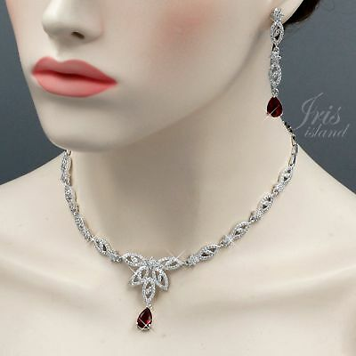 White Gold Plated Red Cubic Zirconia Necklace Earrings Wedding Jewelry Set 01088