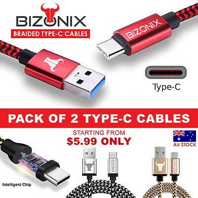 2x Braided USB Type-C 3.1 USB-C to Male Data Snyc Charger Charging Cable Bizonix