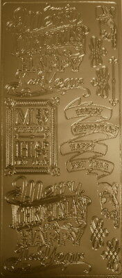 GOLD Outline Peel-Off  CHRISTMAS & NEW YEAR STICKERS ~Scrapbooking/Cardmaking
