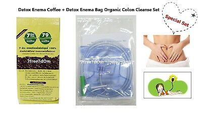 Pure Enema Coffee + Disposable Reusable Bag Cleaning Kit Body Colon Detox Clean.