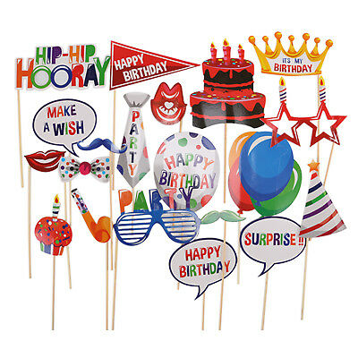 20pcs Photo Booth Props Happy Birthday Party Photography Kit Mustache On A Stick