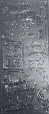 SILVER Outline Peel-Off  CHRISTMAS & NEW YEAR STICKERS ~Scrapbooking/Cardmaking
