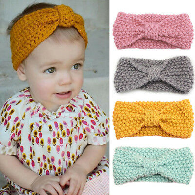 Newborn Knot Elastic Headband Knit Crochet Turban Kids Girls Head Wrap Hairbands