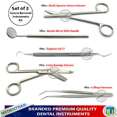 5Pcs Dental Suturing Kit Suture Removal Scissors Cotton Tweezers Surgical Lab CE