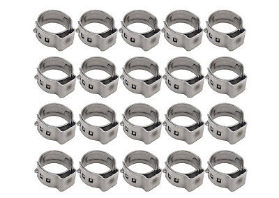 "20 PCS 3/8"" PEX Stainless Steel Ear Clamp Cinch Ring Crimp Pinch Fitting Tubing"