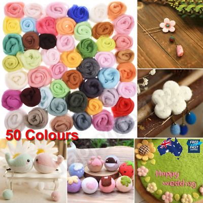 50 Colours Wool Needles Felt Tool Set + Needle Felting Mat Starter DIY Kit Craft