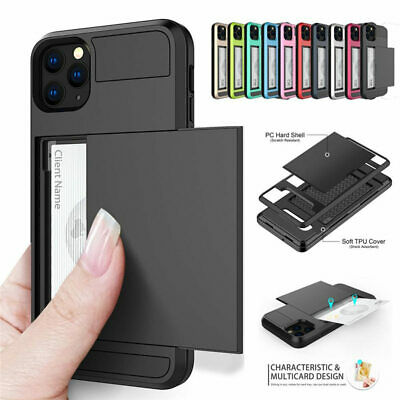 Case Cover For iPhone XS Max XS XR Hybrid Rubber Card Slots Holder Shockproof PC